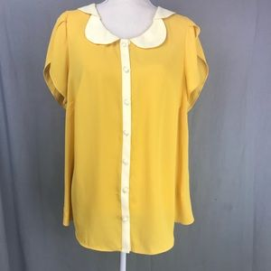 ModCloth Teacher's Petal Sleeve Yellow Top Work